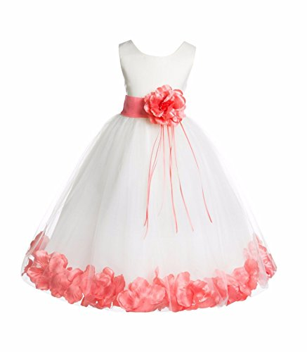 Ivory Tulle Floral Rose Petals Junior Flower Girl Dress Christening Dress 007 2