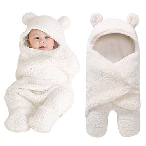 Yezike Newborn (0-12month) Baby Boy Girl Cute Swaddle White Sleeping Wrap Blanket (White)