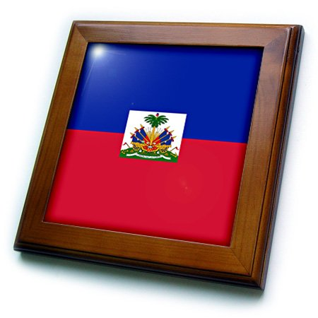 3dRose ft_158327_1 Flag of Haiti Dark Navy Blue and Red with Haitian Coat of Arms Caribbean Country World Souvenir Framed Tile, 8 by 8-Inch (World Framed Tile)