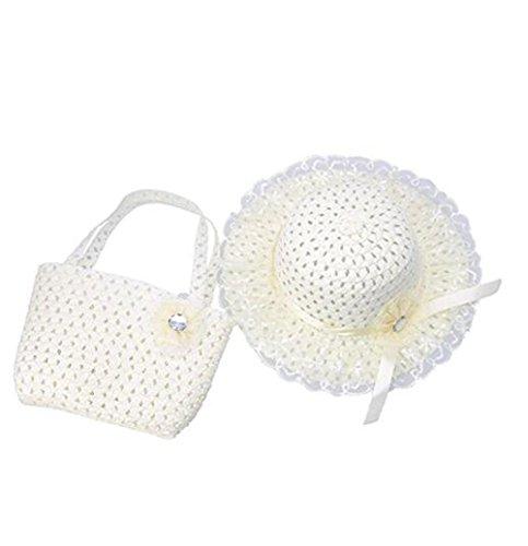 Jiuhexu Kids Straw Sun Hat Handbag Sets Children Beach Caps Prop Outfit 9Colors (Beige) -