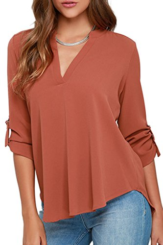 YMING Ladies Chiffon V Neck Shirt Long Roll Sleeve Shirt Solid Color Blouse Water Red S