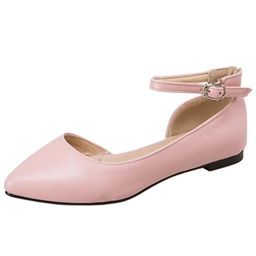 TAOFFEN Women Casual D'Orsay Ankle Strap Ballet Shoes Buckle Sandals Pink X2PHl