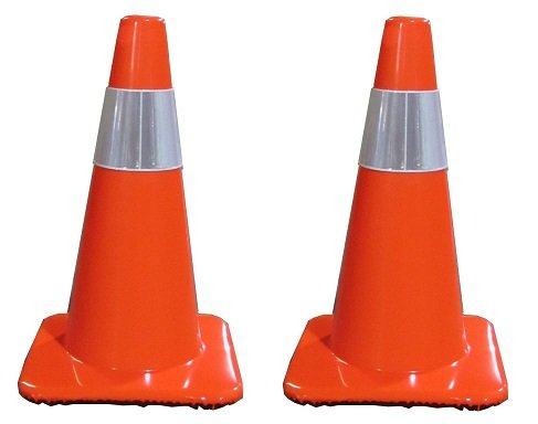 Work Area Protection 18PVCS Polyvinyl Chloride Standard Traffic Cone with 4'' VSB Reflective Collar, 7-1/4'' Diameter x 18'' Height, Fluorescent Orange (2-PACK)