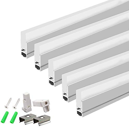 LightingWill 5Pack 3.3ft/1M LED Crystal Aluminum Channel System 8.5mm Ultra Thin Silver Track Extrusion Profile with Acrylic Frosted Covers Kit for LED Strip Light Installation - Frosted Acrylic Diffuser