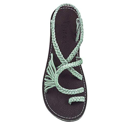 Plaka Flat Summer Sandals for Women Sage Green 8 Palm Leaf