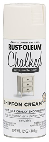 Wood Finish Distress (Rust-Oleum 302596 Chalked Spray Paint, 12 oz, Chiffon Cream/Off White)