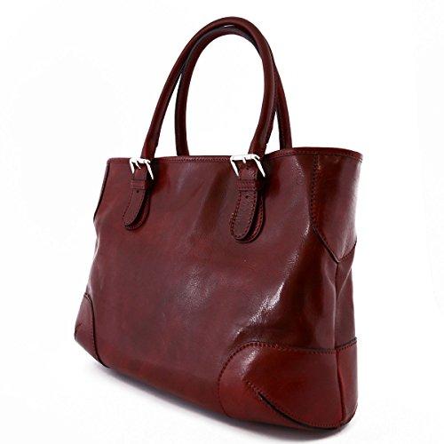 Borsa A Spalla Per Donna 2 Scomparti Interni Colore Rosso - Pelletteria Toscana Made In Italy - Borsa Donna