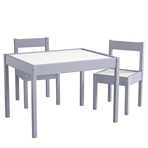 Baby Relax Hunter 3 Piece Kiddy Table and Chair Set, Gray (Room Game Tables And Chairs)
