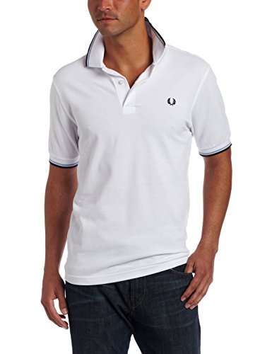 Fred Perry Men's Twin Tipped Polo Shirt-M1200, White/Ice/Navy, X-Large