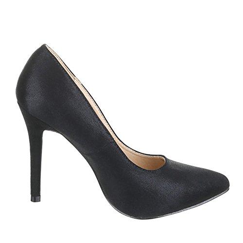 Ital-Design Damen Schuhe, KF69-8A, Pumps High Heels Schwarz