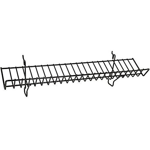 Count of 5 New Black Wire Slanted Shelf fits Slatwall,Grid,Pegboard 23w x 4d