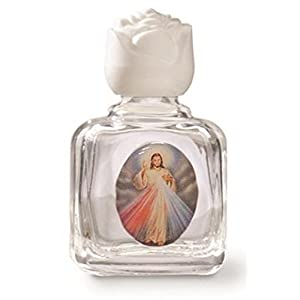 Divine Mercy with Photo Holy Water Glass Bottle with White Cap