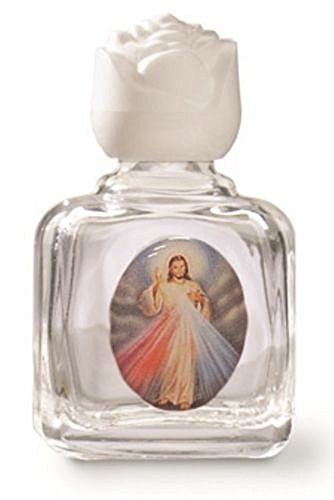Divine Mercy with Photo Holy Water Glass Bottle with White ()