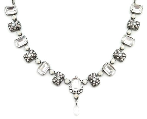 Mariana Swarovski Crystal Silver Plated Necklace Clear Rectangle Mosaic 1078 Africa Kalahari by Mariana