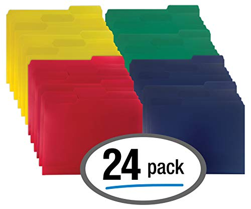 Colored File Folder - Heavyweight Poly File Folders, 1/3 Cut, Top Tab, 24 Per Box, by Better Office Products, Letter Size, Assorted Colors-Red, Blue, Yellow Green, 24 per Box