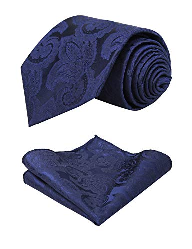 - Alizeal Mens Solid Floral Pattern Necktie and Hanky Set, Navy