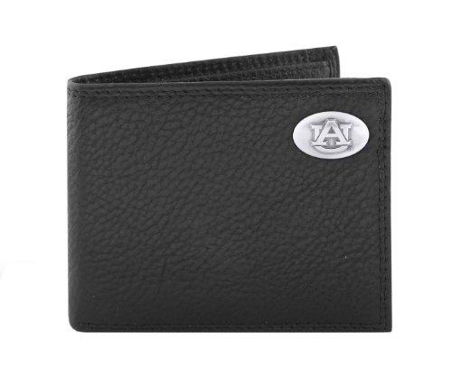 Auburn Tigers Black Leather (NCAA Auburn Tigers Black Pebble Grain Leather Bifold Concho Wallet, One Size)