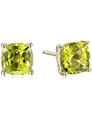 14k Yellow Gold Cushion-Cut Stud Earrings