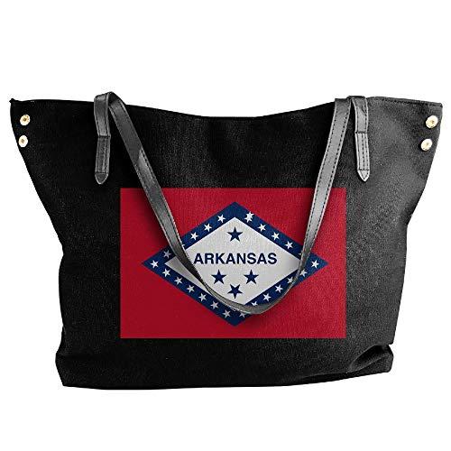 Women's Canvas Large Tote Shoulder Handbag Arkansas State Map Element Design Large Capacity Bags -
