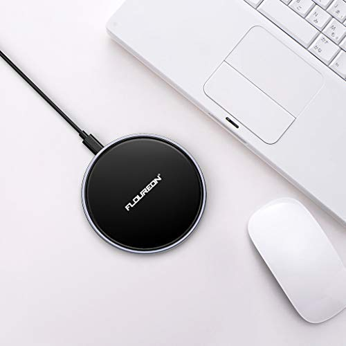 Wireless Charger Fast Charger,FLOUREON Qi-Certified Ultra-Slim Fast Charge Wireless Charger Pad 10W 7.5W 5W Output Compatible with iPhone Xs MAX/XR/XS/X/8/8 Plus Samsung Galaxy Note 9/S9/S8 etc -Black