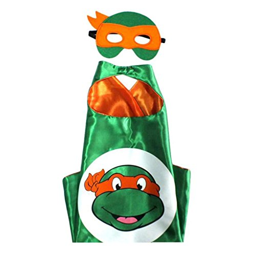 Superman Costume For Teenage Girls (Cartoon Costume - TMNT Mikey Turtle Logo Cape and Mask with Gift Box by Superheroes)