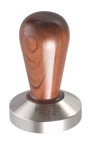 Motta 110 Professional Flat Base Coffee Tamper, 58mm, Bubinga Handle