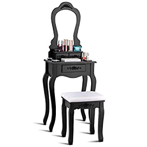 Giantex Vanity Wood Makeup Dressing Table Stool Set Bedroom with Mirror