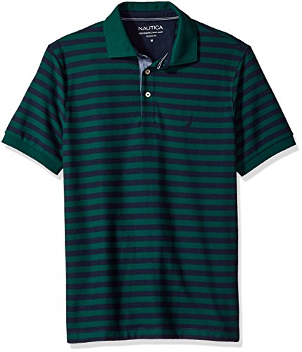 - Nautica Men's Standard Classic Short Sleeve Stripe Polo Shirt, Tidal Green, Large