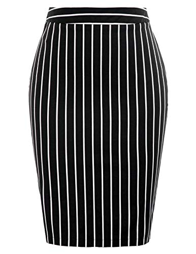 (Kate Kasin Womens Bandage Pencil Skirt Stretchy Business Skirt,Black Size M)