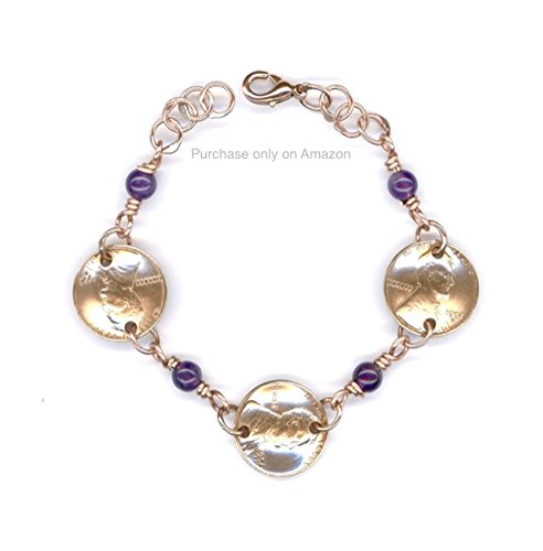 65th Birthday Gifts For Her Handmade 1953 Penny Bracelet With Amethyst February Birthstone Beads Gift