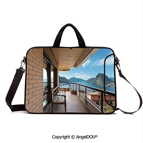 Lugano Messenger - AngelDOU Notebook Bag for School Laptop Sleeve Messenger Bags Lugano Lake Panoramic View from Terrace of Apartment Mountains and Sea PC Cover case Compatible with mac pro/asus/acer/hp/xiaomi Light