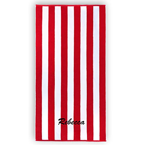 - Kaufman - Personalized 32in x 62in Joey Velour Cabana Stripe Beach and Pool Towel 100% Cotton Embroidered (Red)