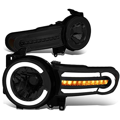 (DNA MOTORING HL-LB-FJC07-SM-AM Pair LED DRL+Sequential Chasing Turn Signal Headlight Lamps Set)