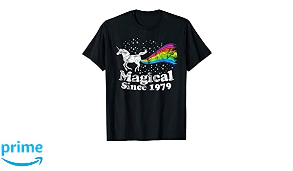 Amazon 40th Birthday Magical Farting Unicorn Rainbow 1979 T Shirt Clothing