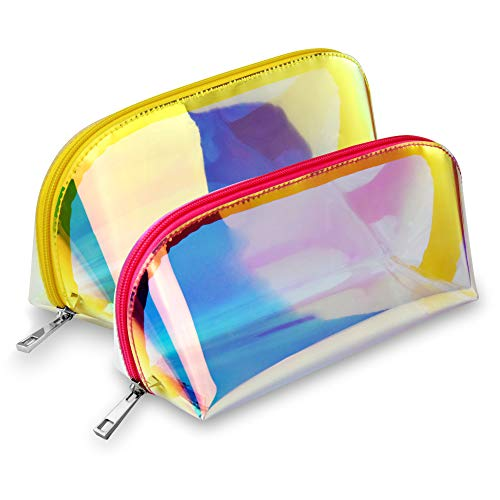 Iridescent Peach - Holographic Makeup Bag, BuyAgain 2 Pack Fashion Iridescent Cosmetic Bag for Girls Women Gold Peach