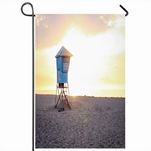 Ahawoso Seasonal Garden Flag 12x18 Inches Sky Blue Barbara Lifeguard Stand On Beach Near Ocean Parks California Coast Exposure Design Home Decorative Outdoor Double Sided House Yard Sign (Best Beaches Near Santa Barbara)