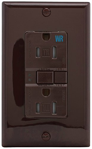 Eaton GFCI Self-Test 15A -125V Tamper & Weather Resistant Duplex Receptacle with Standard Size Wallplate, Brown