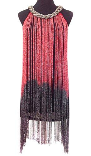 Eyekepper vestido latino mujer traje de baile Cuello halter Borla Brillante Largo Rojo