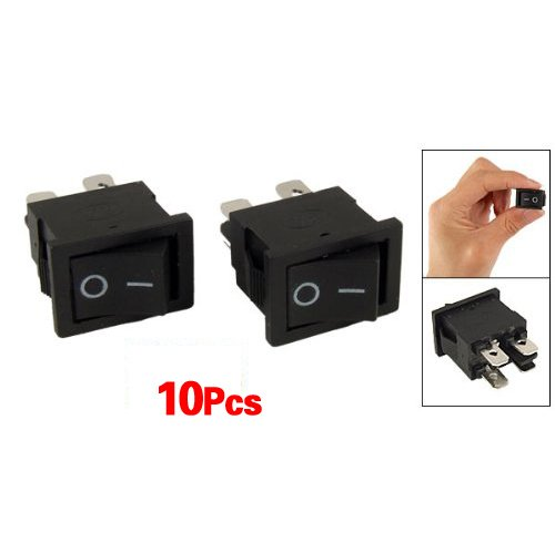 TOOGOO(R) 10 Pcs x 4 Pin On-Off 2 Position DPST Boat Rocker Switches 10A/125V 6A/250V (10a Rocker Switch)