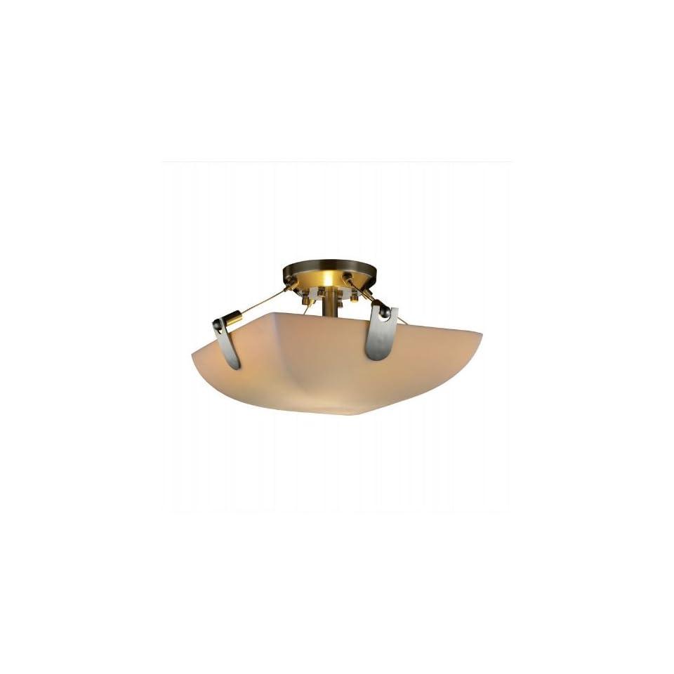 Porcelina U Clips 16 inch Nickel & Faux Porcelain 2 Light Square Semi Flush Ceiling Light