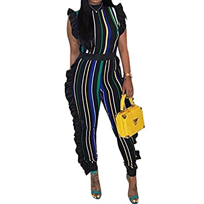 Uni Clau Women's Sleeveless Stripe Ruffle Bodycon Long Pants High Waist Party Jumpsuits Romper Plus Size