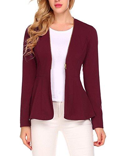 BURLADY Women's Casual Long Sleeve Open Front Zipper Cardigan Blazer Work Office Jacket Suits Cotton Spandex Blazer