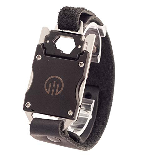 (Higher Objects Finn Adjustable Multi Tool Bracelet - Genuine Leather Strap and Stainless Steel Tools - Black)