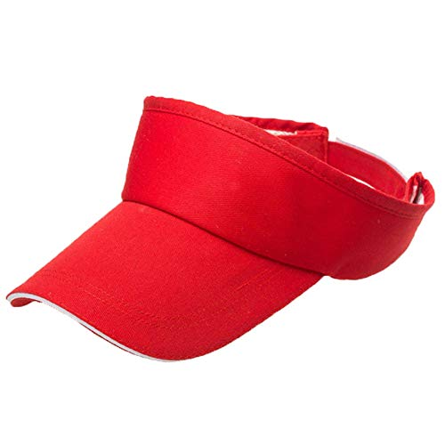 Unisex Summer Visor Sun Plain Hat UN Protection Adjustable Solid Cap Breathable Unconstructed Fashion Trucker Cap (Red)