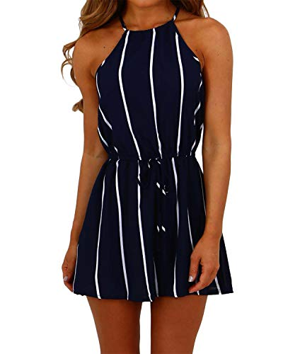 YOINS Women Summer Jumpsuits Floral Print Playsuit Spaghetti Strap Casual Rompers Dungarees