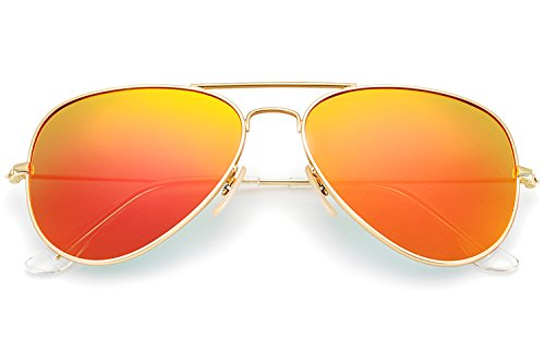 YuFalling Polarized Aviator Sunglasses for Men and Women (gold frame/orange-red lens, 58) (Red Aviators Mirrored)