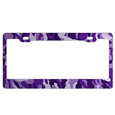 """YEX Abstract Camuflado Purple License Plate Frame Car License Plate Covers Auto Tag Holder 6"""" x 12"""""""