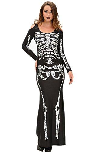 NStart Women's Sexy Long Skeleton Dress Adult Halloween Costumes (Large)