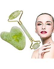 Tiamu Gua Sha kamień do masażu twarzy z jadeitem, grzebień Gua Sha do twarzy Tool-Face, 100% naturalne odmłodzenie, kwarc szmaragdowy, wałek do scrapbookingu SPA terapia przeciwstarzeniowa