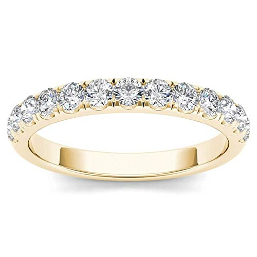 (De Couer IGI Certified14k Yellow Gold 1/2ct TDW Diamond Wedding Band (I-J, I2))